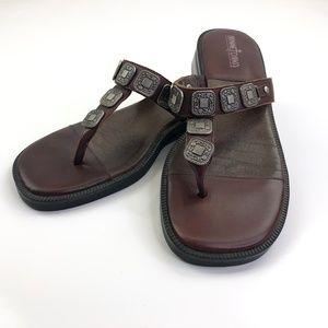 Minnetonka Leather Heeled Embellished Sandal